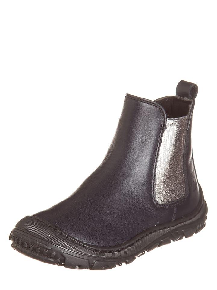 EB Shoes Skórzane botki w kolorze granatowo-srebrnym