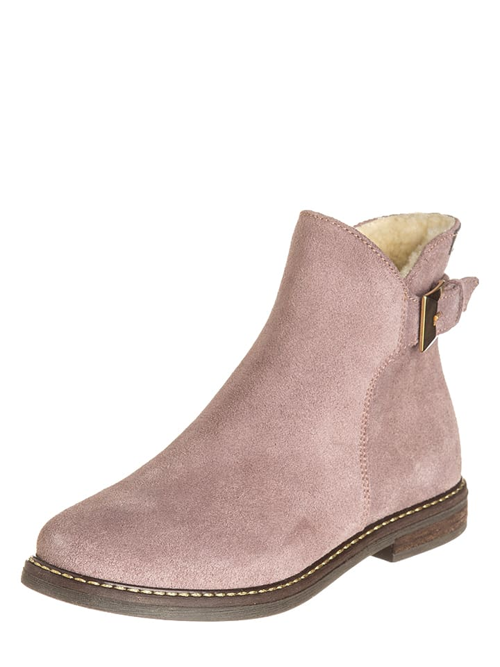 EB Shoes Skórzane botki w kolorze jasnoróżowym