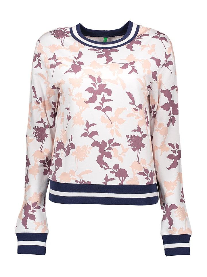 Benetton Sweatshirt in Weiß/ Rosa