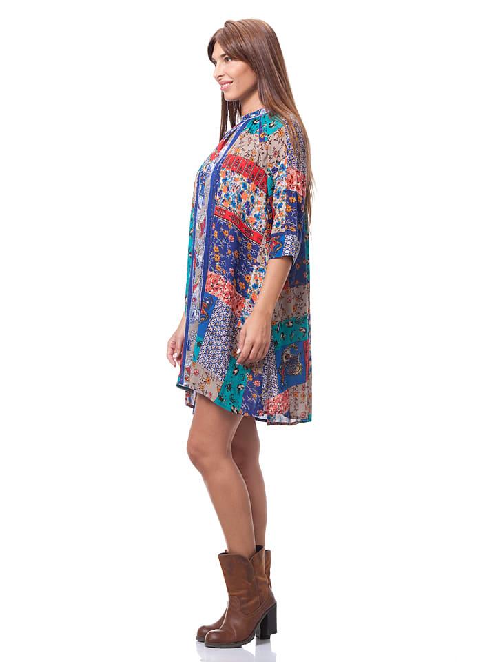 Calao Kleid in Blau/ Hellgrau/ Rot
