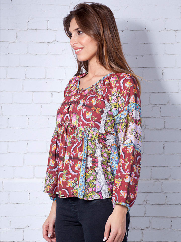 Calao Bluse in Rot/ Bunt