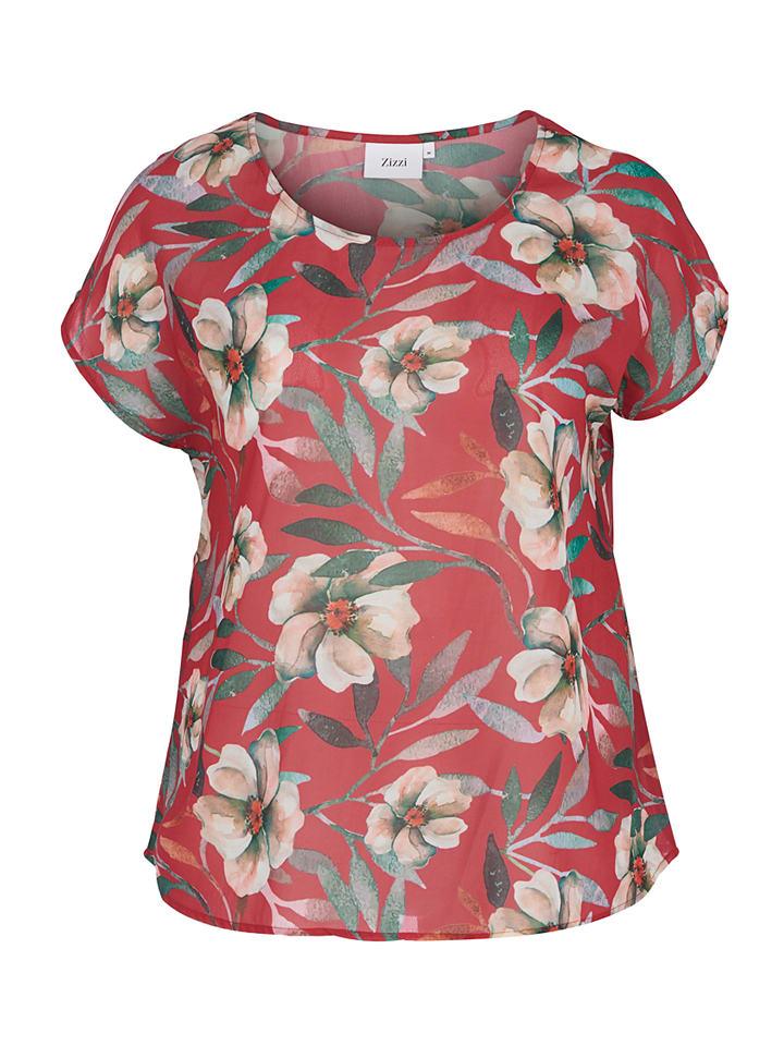 """Zizzi Shirt """"Aysa"""" in Rot/ Bunt"""