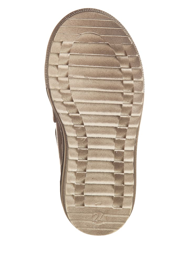 Billowy Leder-Sneakers in Taupe