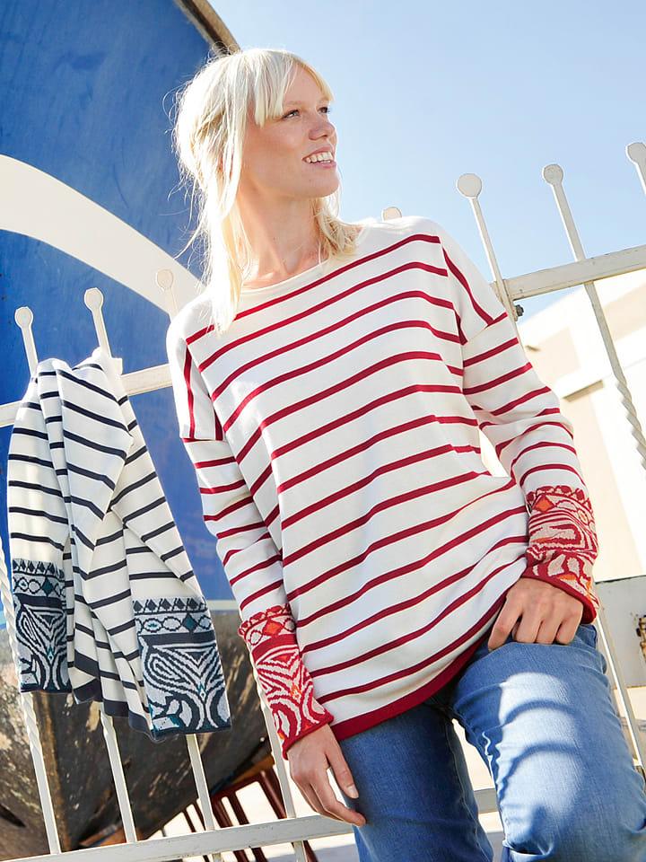 """Deerberg Sweatshirt """"Maite"""" in Rot/ Weiß"""