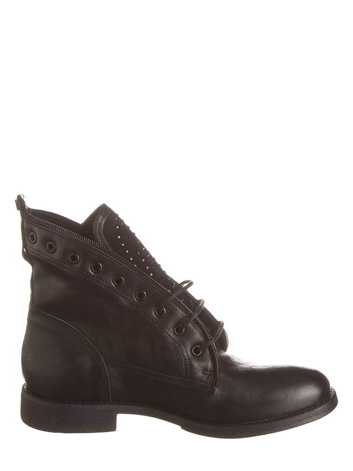 Otto Kern Leder-Boots in Schwarz