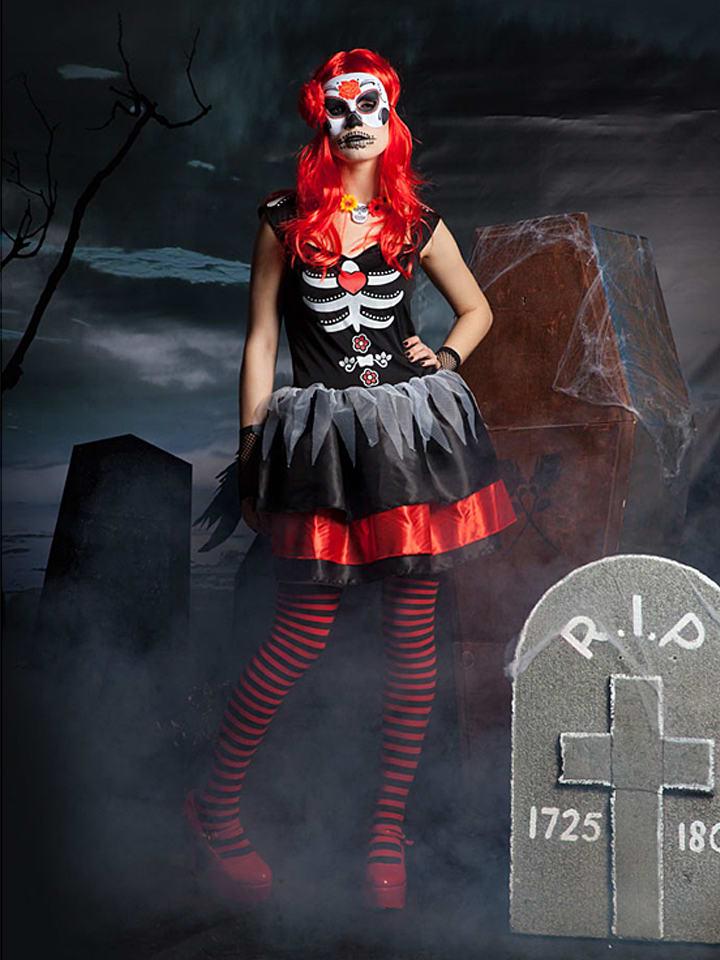 """FOLAT 3tlg. Kostüm """"Day of the Dead"""" in Schwarz/ Rot"""