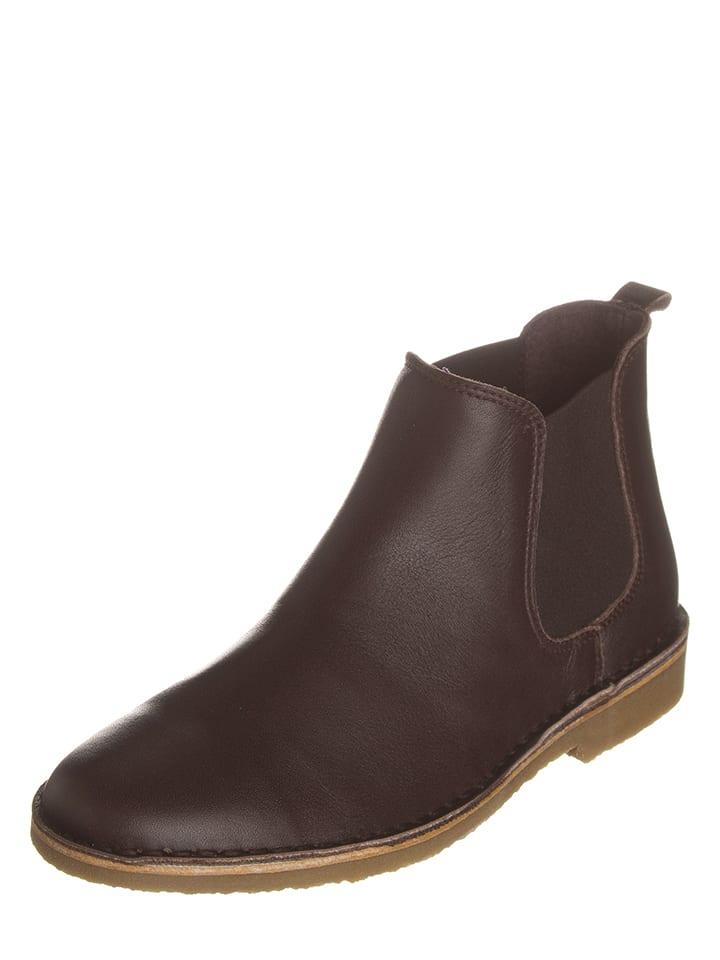 Kmins Leder-Chelsea-Boots in Braun