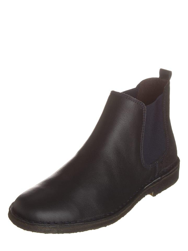 Kmins Leder-Chelsea-Boots Schwarz/ Dunkelblau
