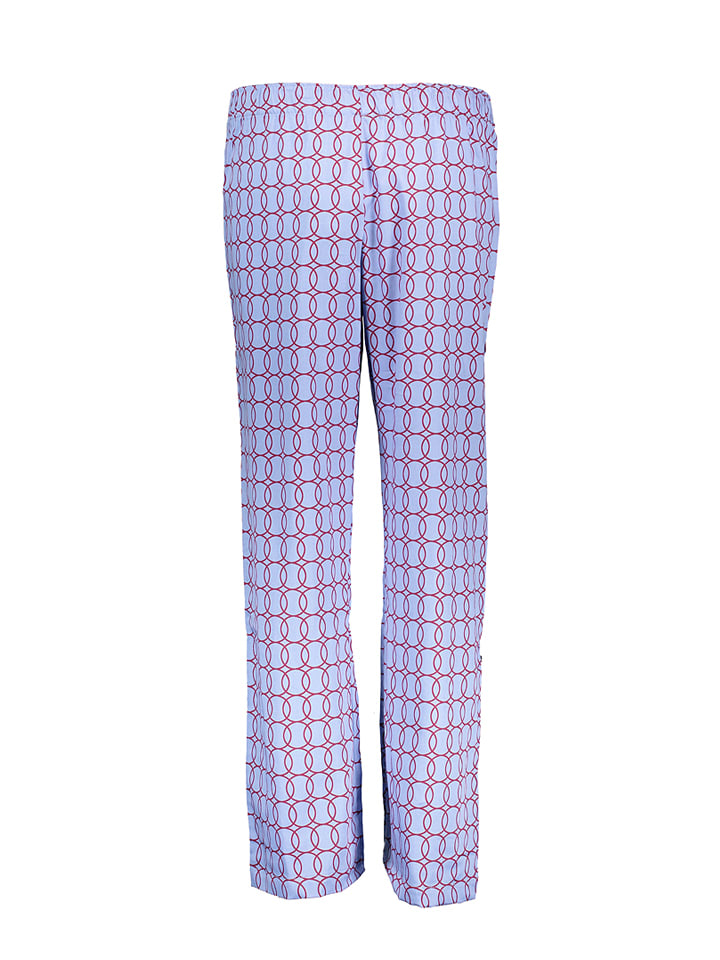 Carl Ross Pyjama-Hose in Hellblau/ Dunkelrot