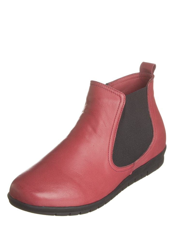 Andrea Conti Leder-Ankle-Boots in Rot
