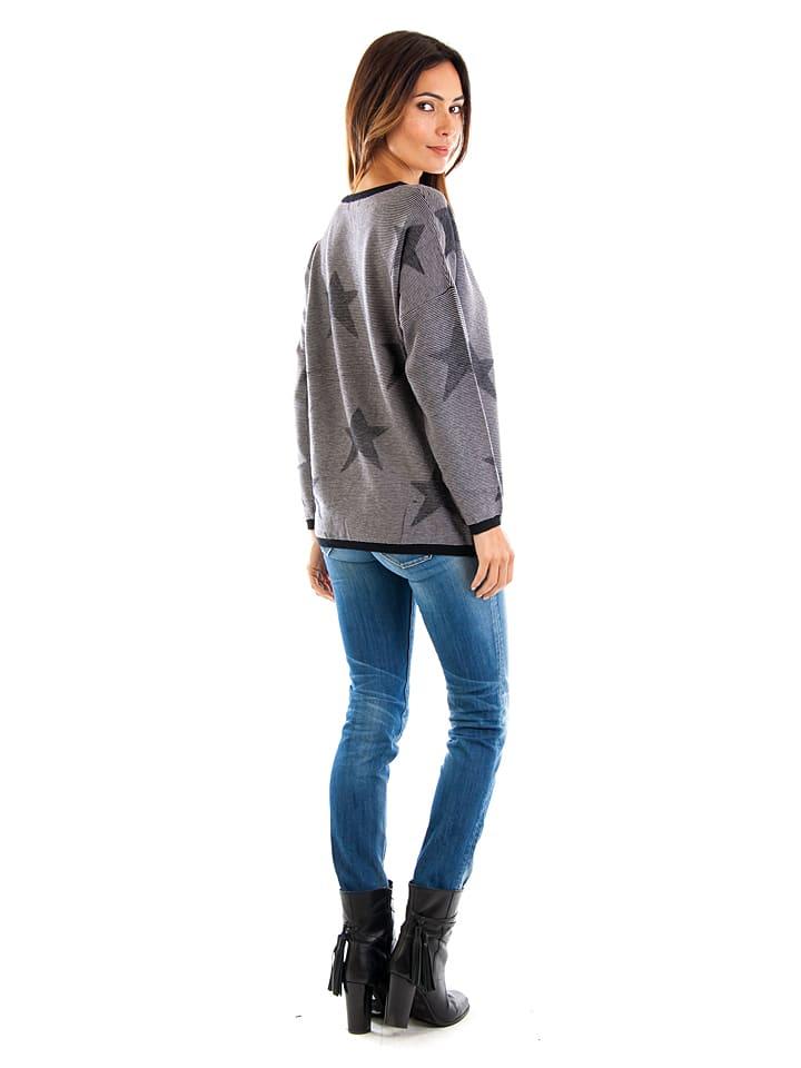 Cashmere 4ever Pullover in Schwarz/ Weiß