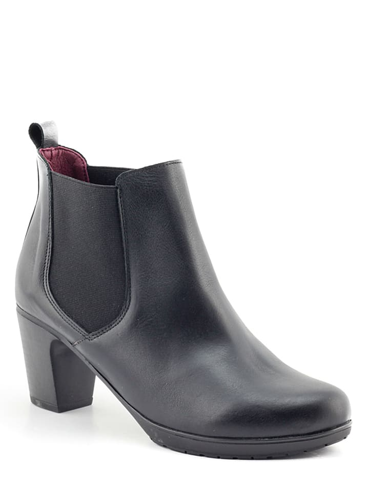 Abril Flowers Leder-Chelsea-Boots in Schwarz