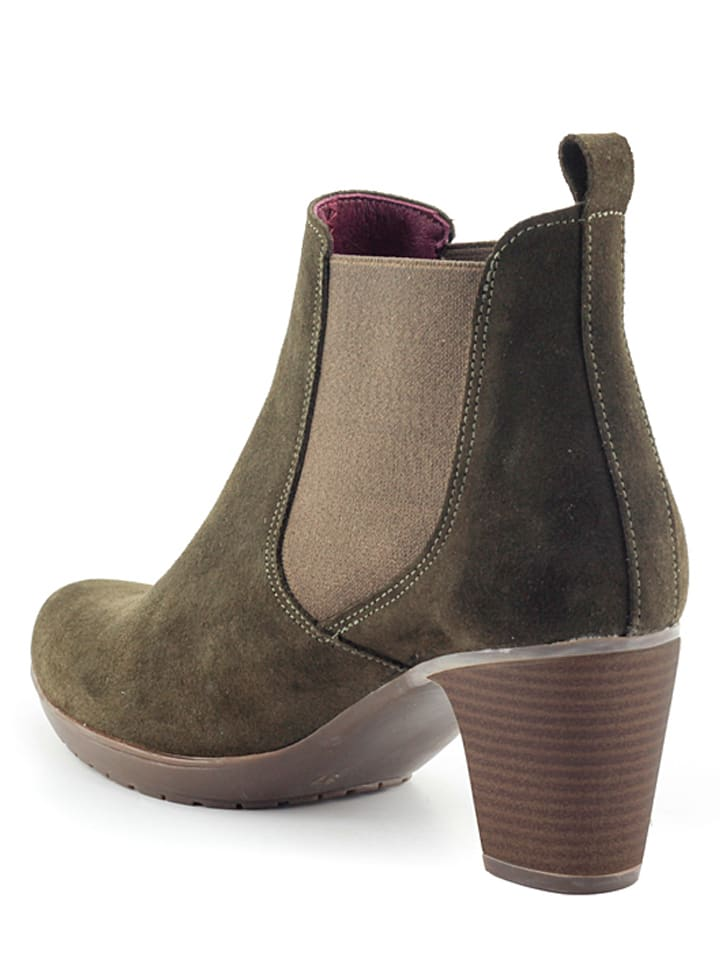 Abril Flowers Leder-Chelsea-Boots in Khaki