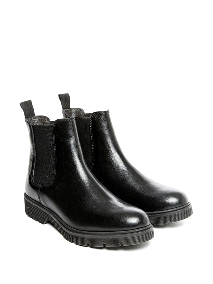 Frank Daniel Leder-Chelsea-Boots in Schwarz