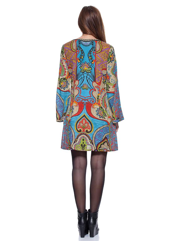 Calao Kleid in Blau/ Bunt