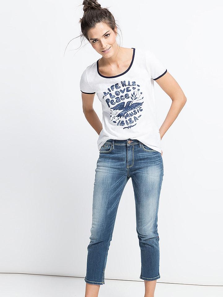 H.I.S Shirt in Weiß/ Blau
