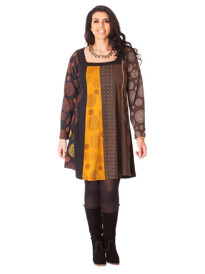 Aller Simplement Kleid in Braun/ Gelb