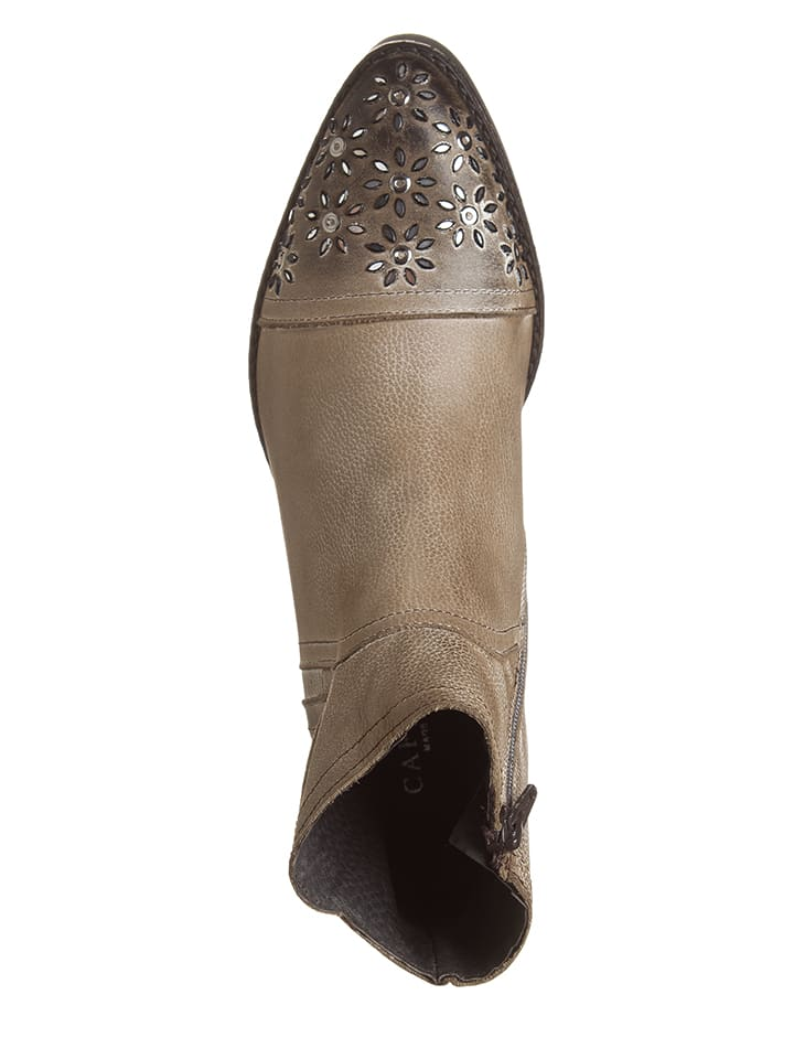 CAFèNOIR Leder-Boots in Taupe