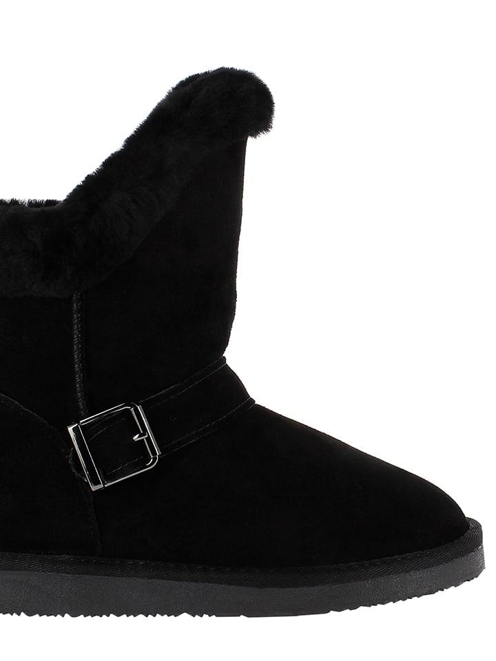 Minnetonka Leder-Boots in Schwarz