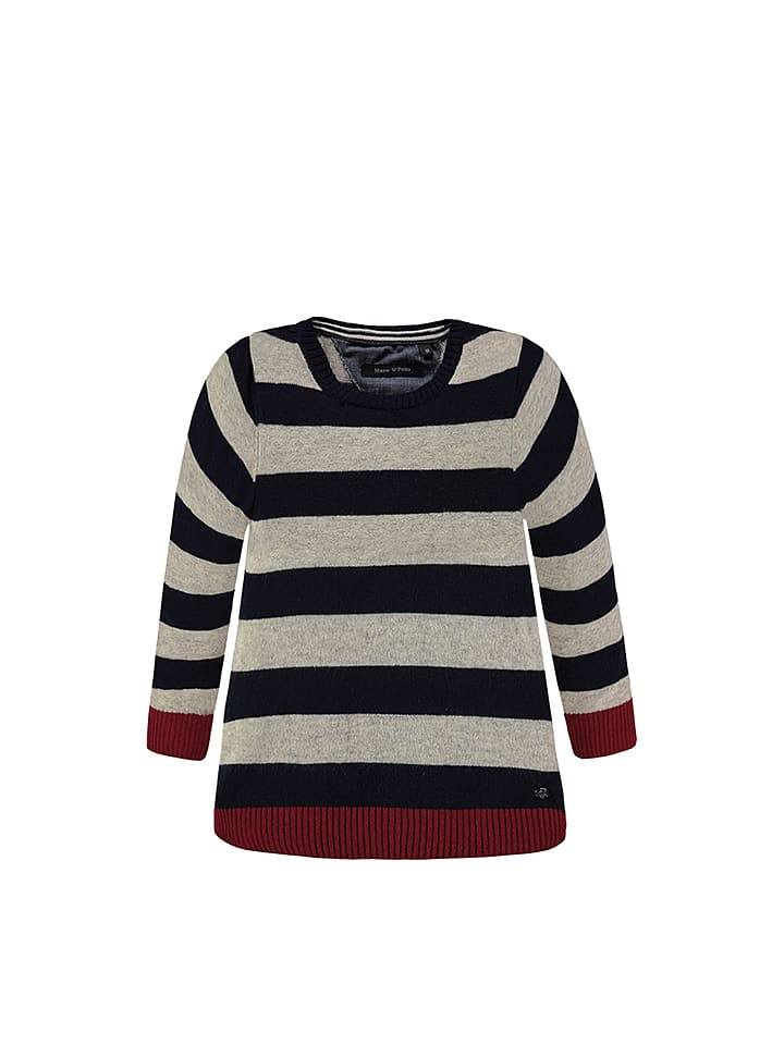 Marc O'Polo Junior Pullover in Grau/ Schwarz/ Rot