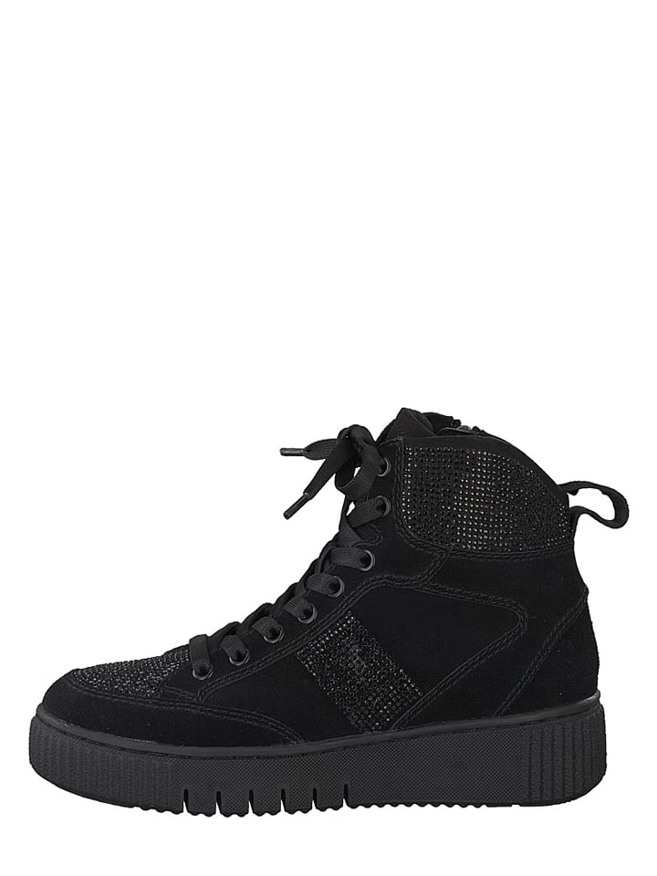 Tamaris Leder-Sneakers in Schwarz - 60%