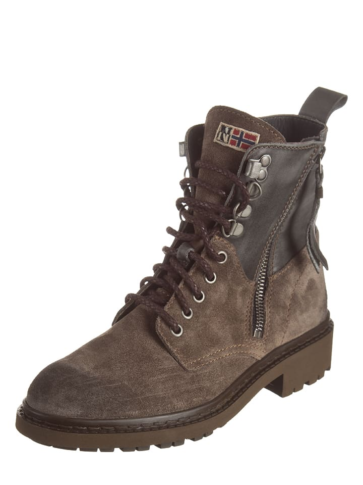 Napapijri Leder-Boots Reese in Taupe - 60% q7T4xiGUf