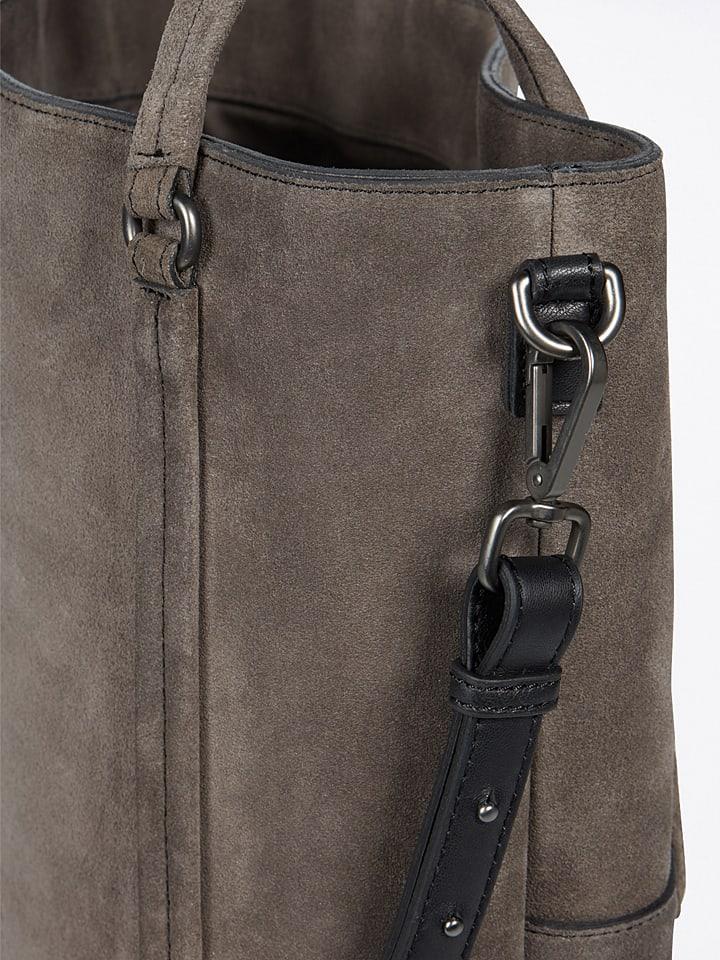 Marc OPolo Leder-Shopper FortyFour in Grau - (B)38 x (H)40 x (T)12,5 cm