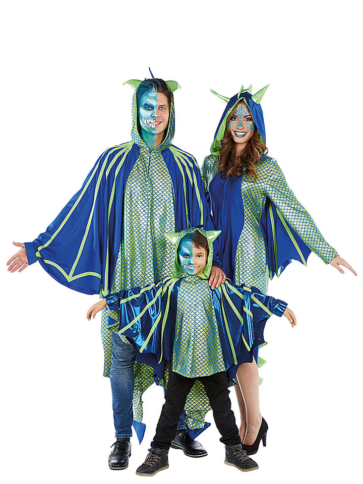 MOTTOLAND Kostümkleid Drachenfrau in Grün/ Blau