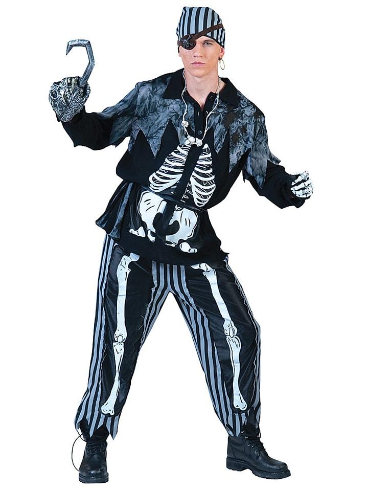 """Funny Fashion 4-częściowy kostium """"Deathly Pirate"""" w kolorze biało-czarnym"""