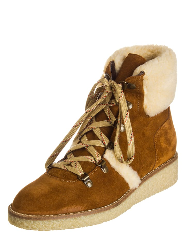 ESPRIT Leder-Boots Dyana in Hellbraun