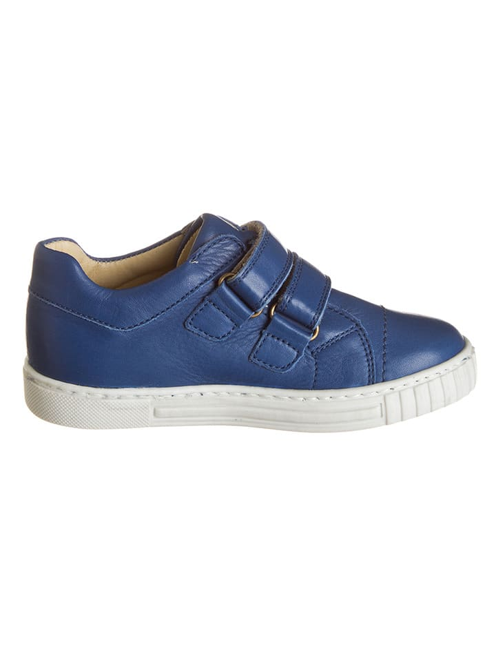 POM POM Leder-Sneakers in Blau