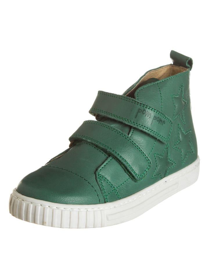 POM POM Leder-Sneakers in Grün