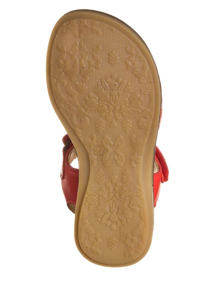POM POM Leder-Sandalen in Rot
