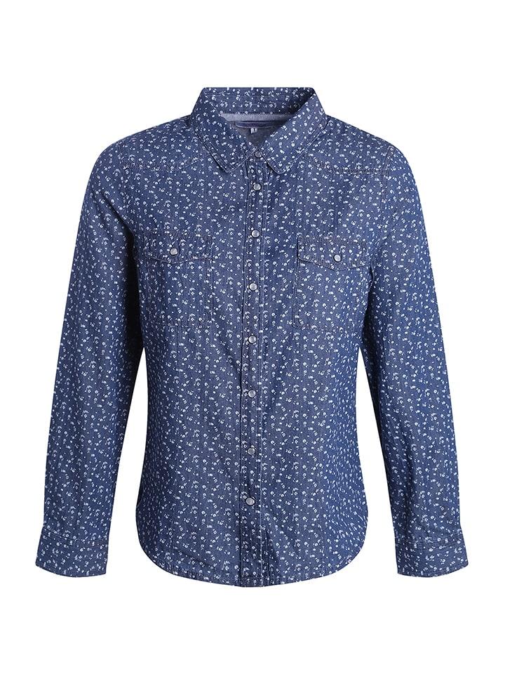 Scottage Bluse in Blau/ Weiß