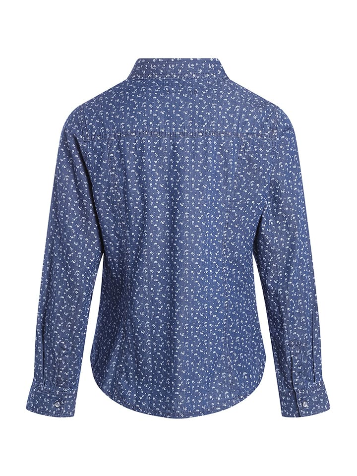 Scottage Bluse in Blau/ Wei