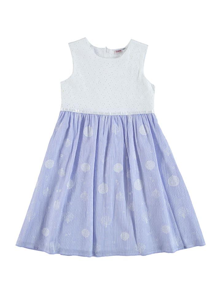 Topo Kleid in Weiß/ Hellblau