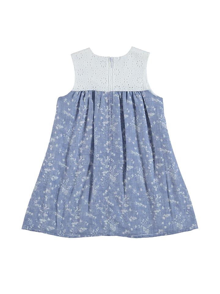 Topo Kleid in Hellblau/ Weiß