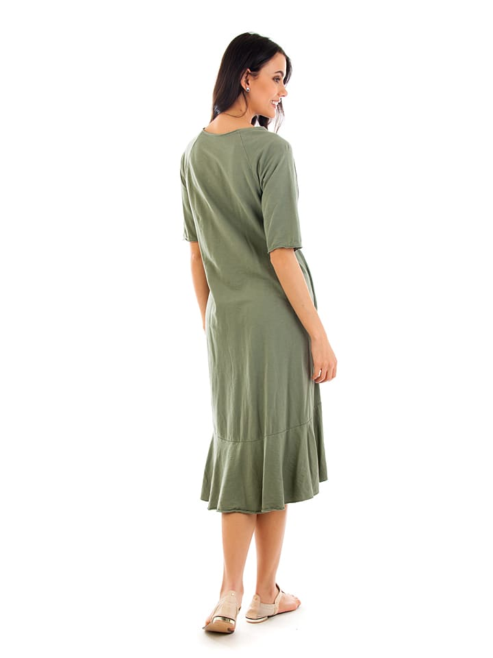 100% Coton Kleid in Khaki