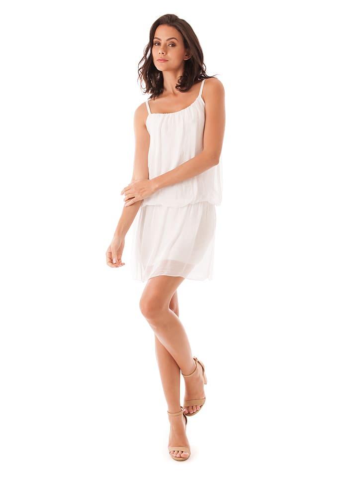 100% Soie Seiden-Kleid in Wei
