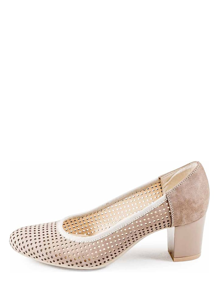 Vanessa Leder-Pumps in Creme - 73%