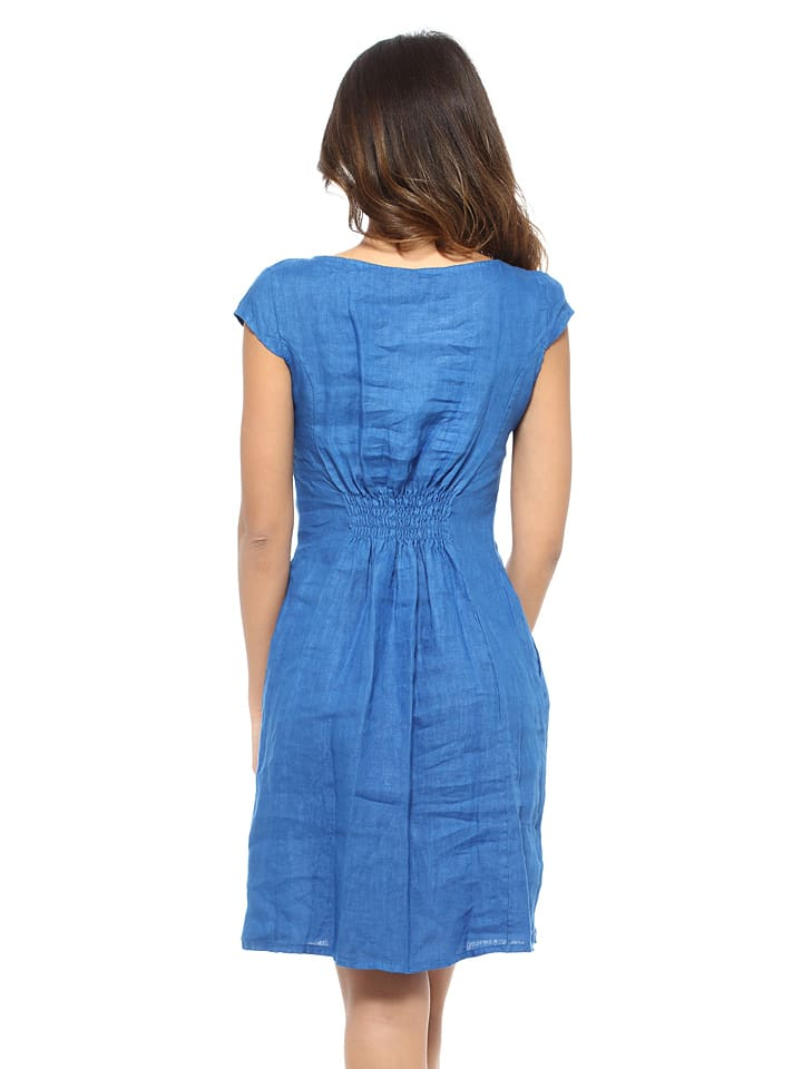PRETTY LIN Leinen-Kleid in Blau