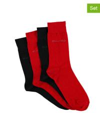Marc O'Polo 4er-Set: Socken in rot/ schwarz