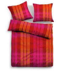Tom Tailor Satin-Bettwäsche-Set in Pink/ Rot/ Orange