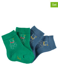 Steiff 2er-Set: Frottee-Socken in Blau/ Grün