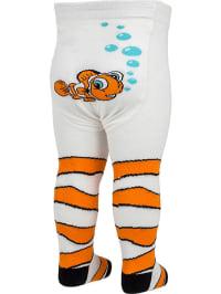 """FiZter Kidswear Strumpfhose """"Fish"""" in Weiß/ Orange"""