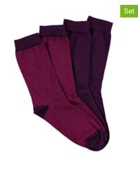 Seidensticker 2er-Set: Socken in Beere/ Fuchsia
