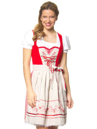 "Stockerpoint Mini-Dirndl ""Leonie"" in Rot/ Beige"