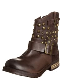 Buffalo Leder-Boots in Braun
