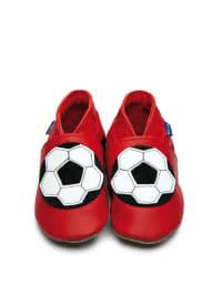 "Inch Blue Leder-Krabbelschuhe ""Football"" in Rot/ Weiß/ Schwarz"