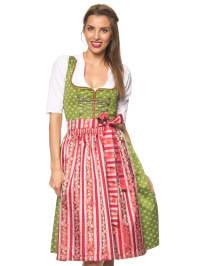 """Turi Landhaus Midi-Dirndl """"Monique"""" in Grün/ Rot"""